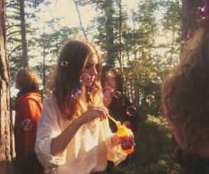 bubbles, girl, and vintage image