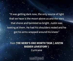 galaxy, quotes, and justin bieber fanfiction image