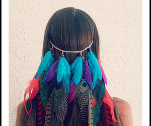 hair, girl, and feather image