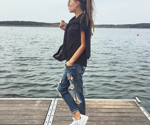 style, jeans, and hair image