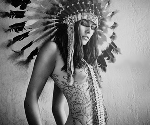 indian, feather, and tattoo image