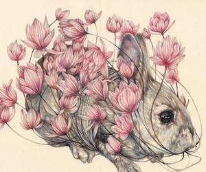 rabbit, animals, and flowers image