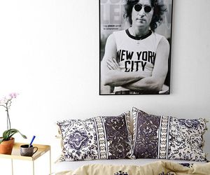 john lennon, bed, and bedroom image