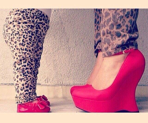 leopard, red, and shoes image
