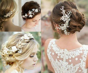 bride, flowers, and hair styles image
