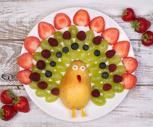 bird, funny, and strawberry image
