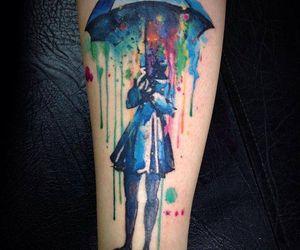 tattoo, umbrella, and rain image