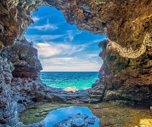 blue, beautiful, and cave image