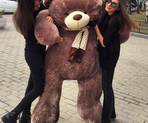 girl, teddy, and friends image