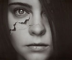 girl, black and white, and broken image