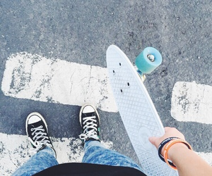 skate, penny, and converse image