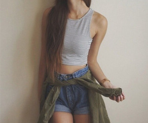 brunette, outfit, and shorts image
