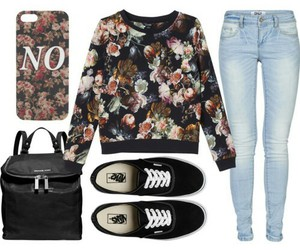 flowers, jeans, and vans image