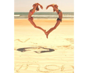 heart, beach, and friends image