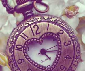 clock, heart, and time image