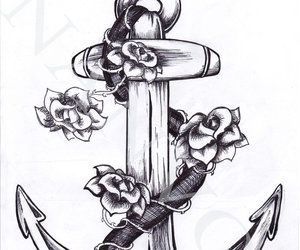 anchor, tattoo, and flowers image