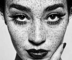 freckles, black and white, and model image