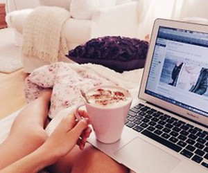 bed, life, and coffe image
