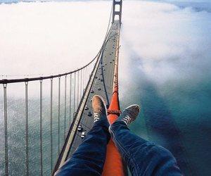 bridge, travel, and clouds image