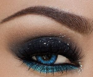 blue and black, glitter, and smoky makeup image