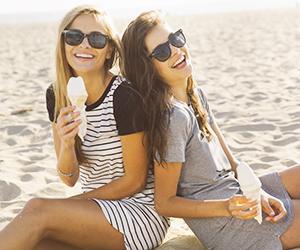 beach, friends, and ice cream image
