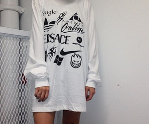 white, grunge, and outfit image