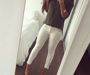 style, fashion, and white pants image