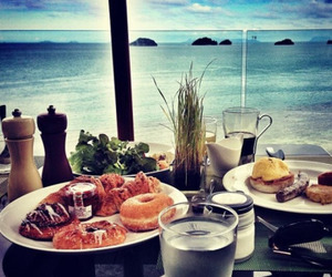 beach, exotic, and food image