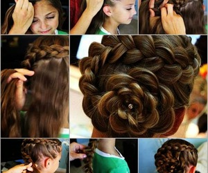 hair, hairstyle, and flower image