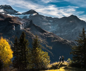mountains, nature, and tree image