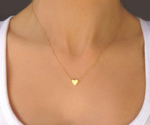 gold, necklace, and heart image