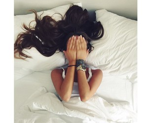 bed, brunette, and girl image