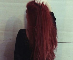 red, grunge, and hair image