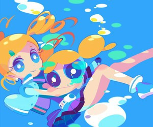 bubbles, anime, and girl image