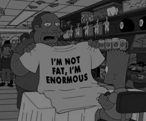 fat, the simpsons, and black and white image