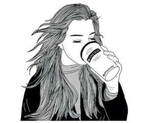 girl, coffee, and drawing image