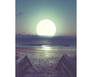 moon, beautiful, and beach image