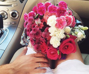 flowers, love, and car image
