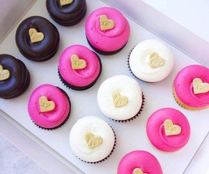 pink, cupcakes, and food image