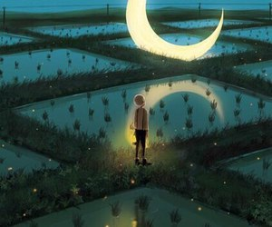 moon, boy, and grass image