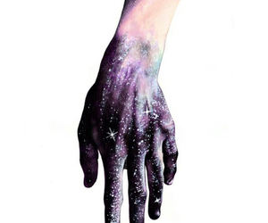 hand, art, and galaxy image