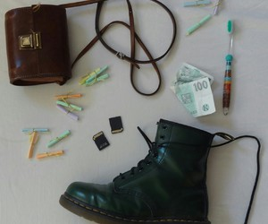 bag, doc martens, and green image