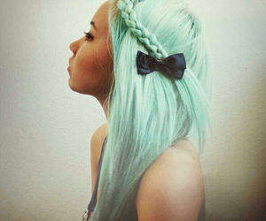 hair, bow, and blue image