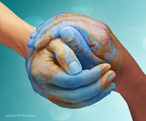 world, earth, and hands image