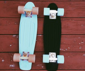 black, skate, and blue image