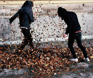 boy, leaves, and autumn image