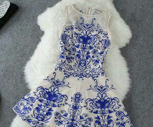 dress, blue, and white image