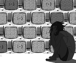 manga, girl, and monochrome image