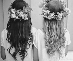 black &white, flower crown, and fashion image