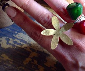 flower, nails, and ring image